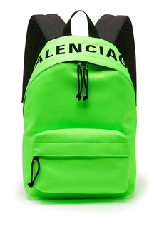Balenciaga Wheel logo-embroidered canvas backback