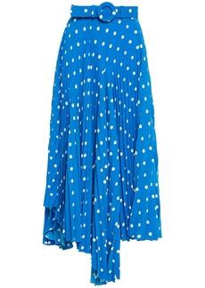 Balenciaga Woman Asymmetric Belted Pleated Polka-dot Crepe Midi Skirt Cobalt Blue