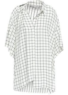 Balenciaga Woman Asymmetric Checked Crepe Shirt Ecru