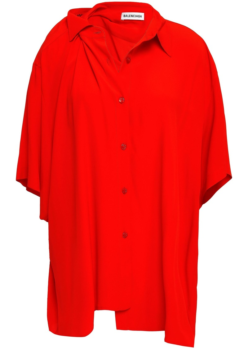 Balenciaga Woman Asymmetric Crepe De Chine Shirt Red