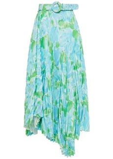 Balenciaga Woman Asymmetric Pleated Floral-print Crepe Midi Skirt Light Blue