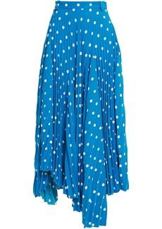 Balenciaga Woman Asymmetric Pleated Polka-dot Crepe Midi Skirt Blue