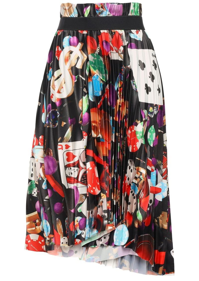 Balenciaga Woman Asymmetric Pleated Printed Stretch-satin Skirt Black