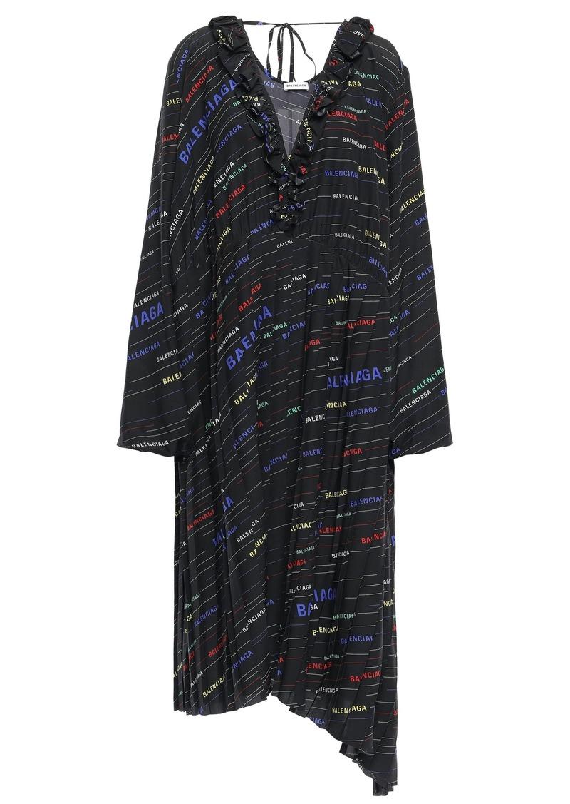 Balenciaga Woman Pleated Printed Silk Crepe De Chine Midi Dress Black