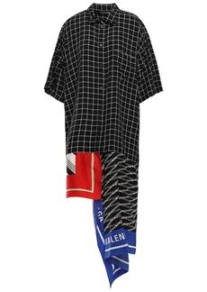 Balenciaga Woman Asymmetric Satin Twill-paneled Checked Crepe Midi Shirt Dress Black