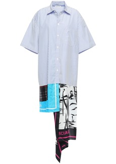 Balenciaga Woman Asymmetric Striped Cotton-poplin And Printed Satin-twill Shirt Dress Light Blue