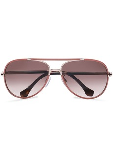 Balenciaga Woman Aviator-style Leather-trimmed Rose Gold-tone And Acetate Sunglasses Antique Rose