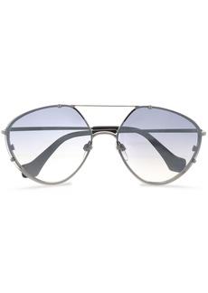 Balenciaga Woman Aviator-style Silver-tone And Acetate Sunglasses Gray