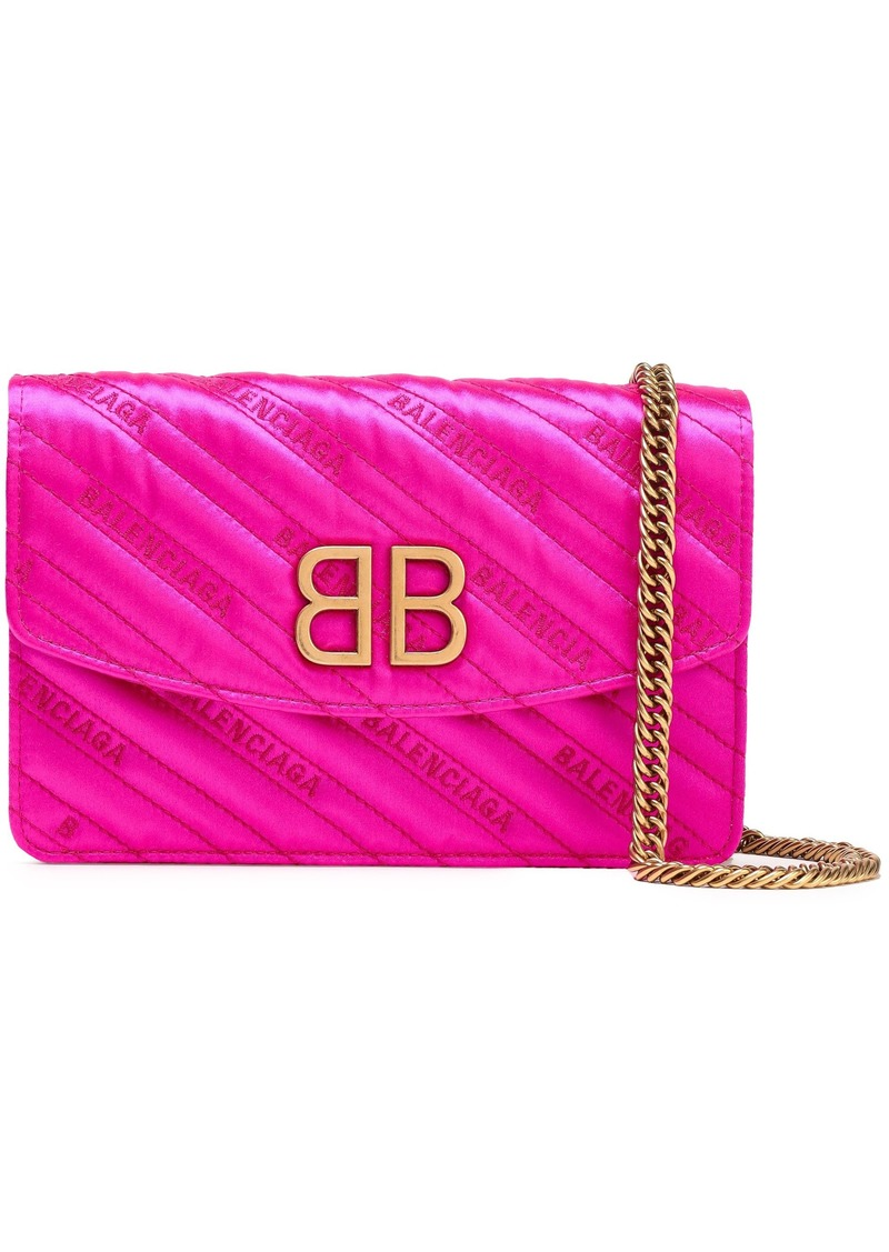 Balenciaga Woman Bb Embroidered Quilted Satin Shoulder Bag Bright Pink