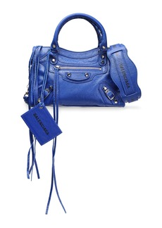 Balenciaga Woman Classic City Mini Textured-leather Tote Cobalt Blue