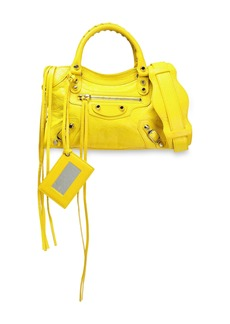 Balenciaga Woman Classic City Mini Textured-leather Tote Yellow