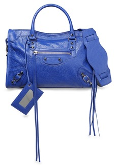 Balenciaga Woman Printed Cracked-leather Shoulder Bag Blue