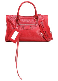 Balenciaga Woman Printed Cracked-leather Shoulder Bag Red