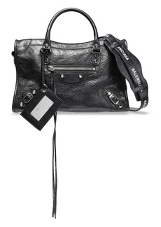Balenciaga Woman Printed Cracked-leather Shoulder Bag Black