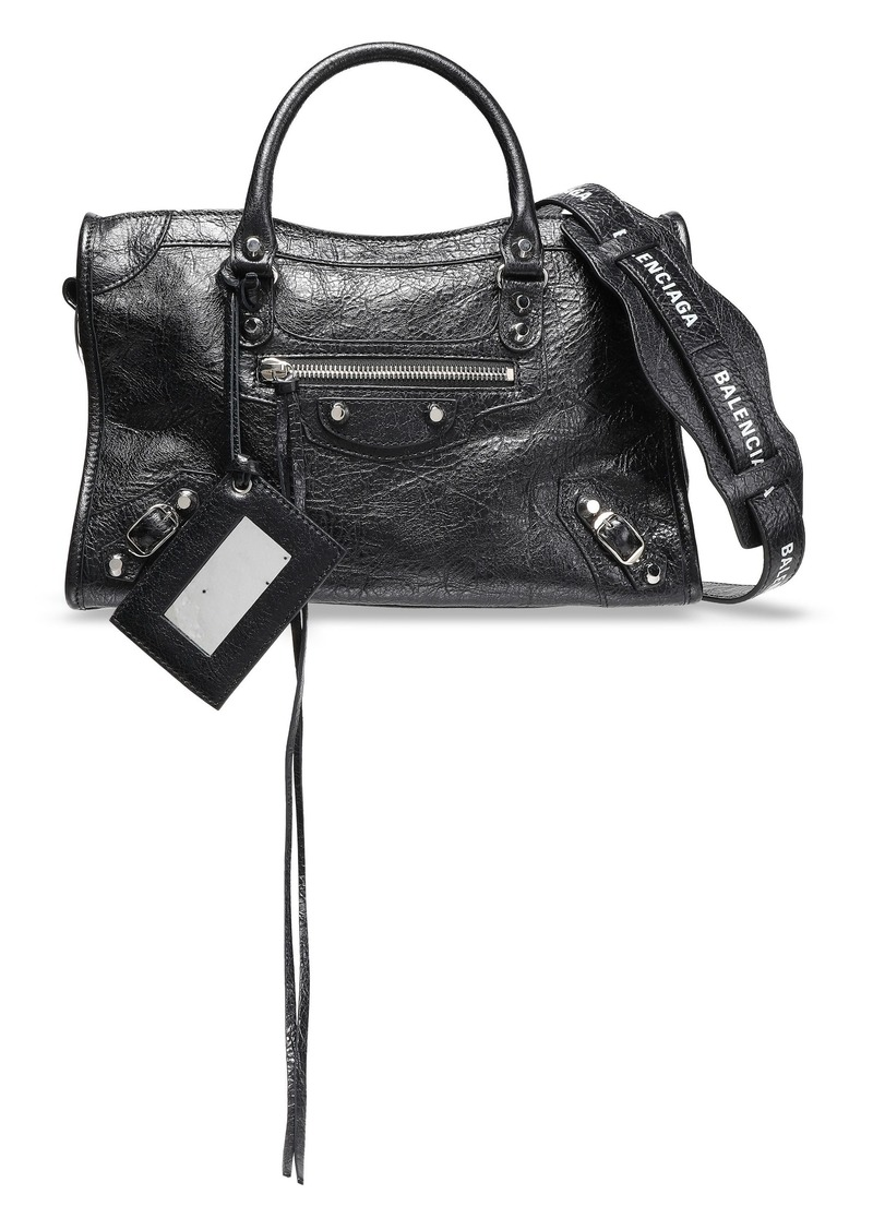 Balenciaga Woman Printed Cracked-leather Shoulder Bag Black