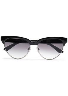 Balenciaga Woman D-frame Silver-tone And Acetate Sunglasses Black