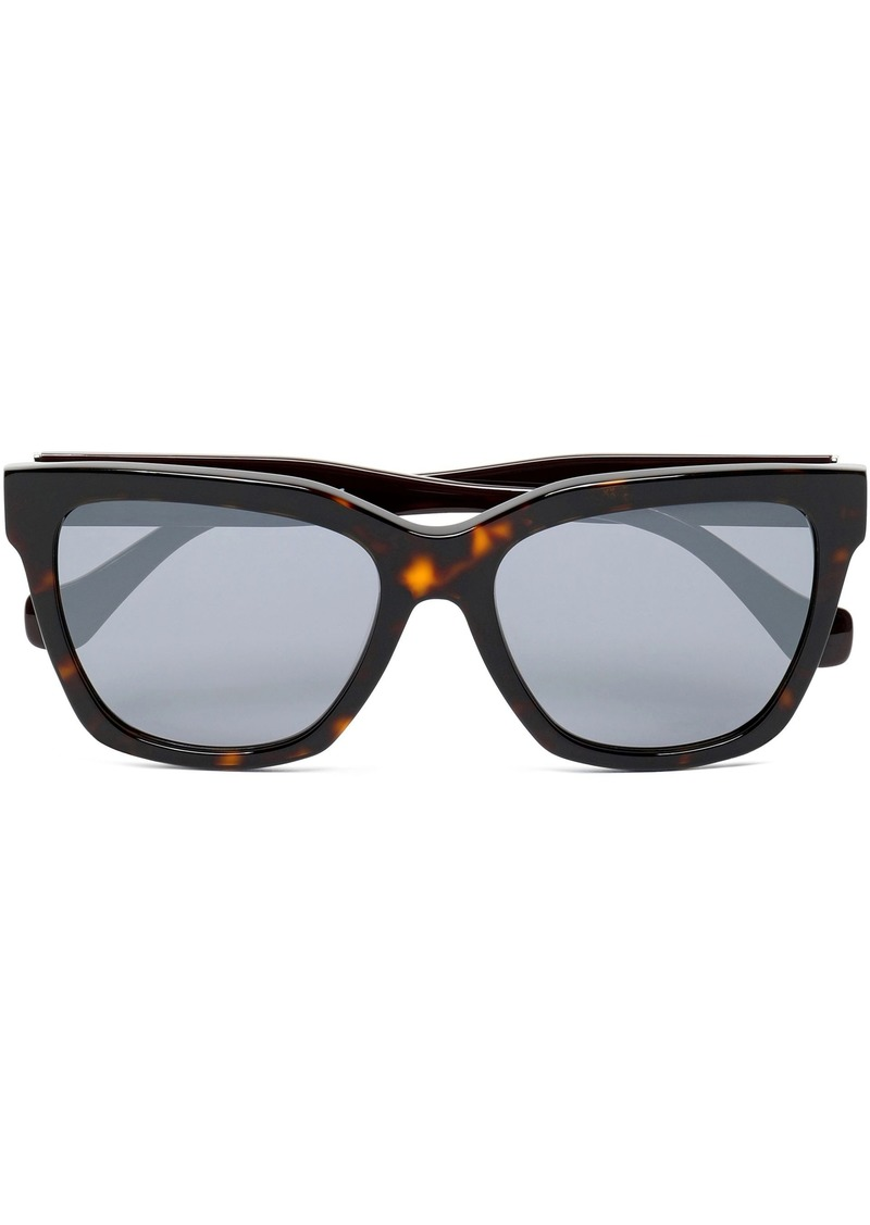 Balenciaga Woman D-frame Tortoiseshell Acetate Sunglasses Dark Brown