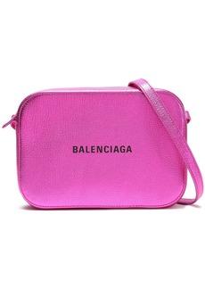 Balenciaga Woman Logo-print Metallic Textured-leather Shoulder Bag Magenta