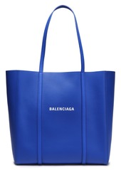 Balenciaga Woman Logo-print Textured-leather Tote Bright Blue