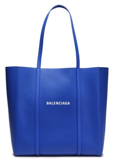 Balenciaga Woman Logo-print Textured-leather Tote Bright Blue