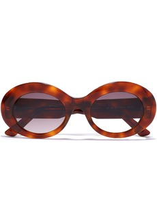 Balenciaga Woman Oval-frame Tortoiseshell Acetate Sunglasses Light Brown