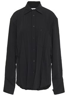 Balenciaga Woman Oversized Pleated Crepe De Chine Shirt Black