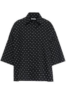 Balenciaga Woman Oversized Printed Cotton-poplin Shirt Black