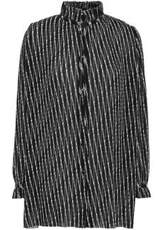 Balenciaga Woman Printed Plissé-crepe Blouse Black