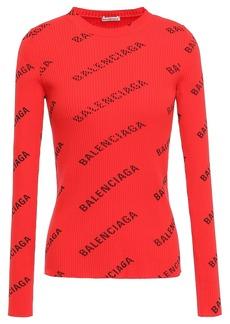 Balenciaga Woman Printed Ribbed-knit Top Red