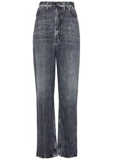 Balenciaga Woman Printed Satin-twill Straight-leg Pants Charcoal