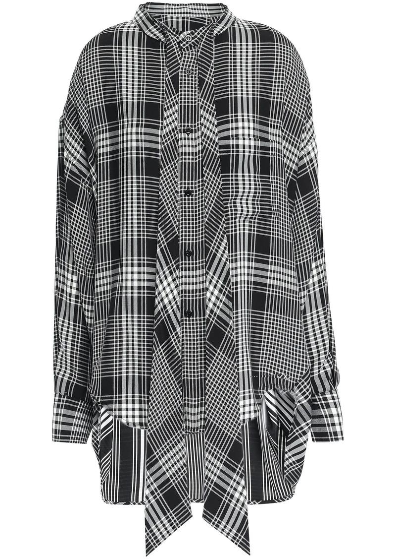 Balenciaga Woman Tie-neck Checked Crepe Shirt Black