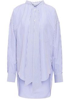 Balenciaga Woman Tie-neck Striped Cotton-poplin Shirt Light Blue