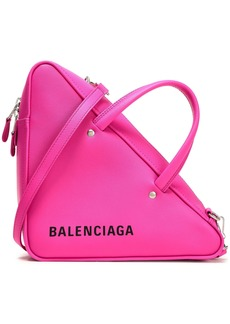 Balenciaga Woman Triangle Duffle Printed Textured-leather Tote Fuchsia