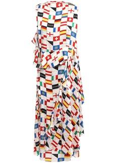 Balenciaga Woman Wrap-effect Printed Silk-jacquard Midi Dress Ivory
