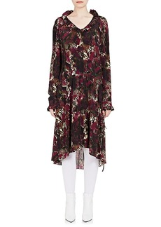 Balenciaga Women's Abstract-Print Silk Drop-Waist Dress - 5061