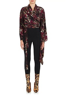 Balenciaga Women's Abstract-Print Silk Wrap Blouse - 5061
