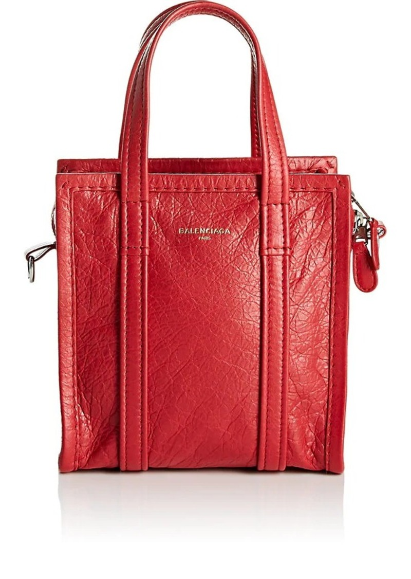 Balenciaga Women's Arena Leather Bazar Extra-Extra-Small Shopper Tote Bag - Red