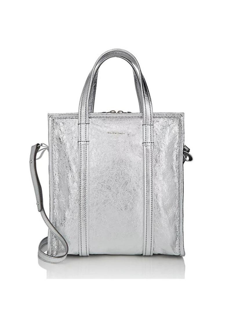 Balenciaga Women's Arena Leather Bazar Small Shopper Tote Bag - Silver