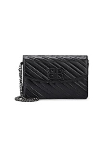 Balenciaga Women's BB Leather Chain Wallet - Black