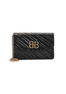 Balenciaga Women's BB Leather Chain Wallet - Black