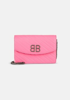 Balenciaga Women's BB Leather Chain Wallet - Pink