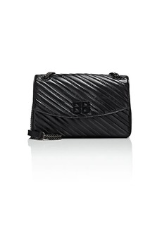 Balenciaga Women's BB Round Leather Shoulder Bag - Black