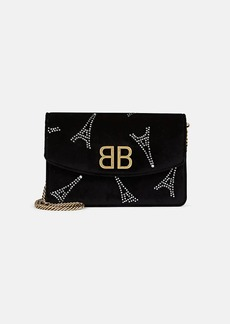 Balenciaga Women's BB Velvet Chain Wallet - Black