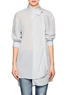 Balenciaga Women's Button-Detailed Striped Semi-Sheer Crepe Blouse