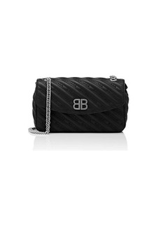 Balenciaga Women's Chain Lock Medium Leather Shoulder Bag - Black