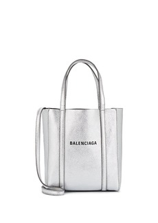 Balenciaga Women's Everyday Extra-Extra-Small Leather Tote Bag - Silver