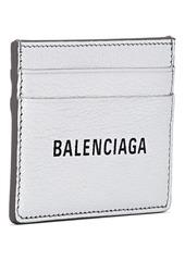 Balenciaga Women's Everyday Logo Leather Card Case - Silver