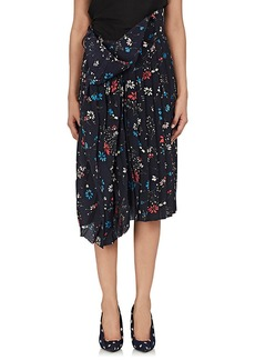 Balenciaga Women's Floral Draped-Waist Crêpe De Chine Skirt