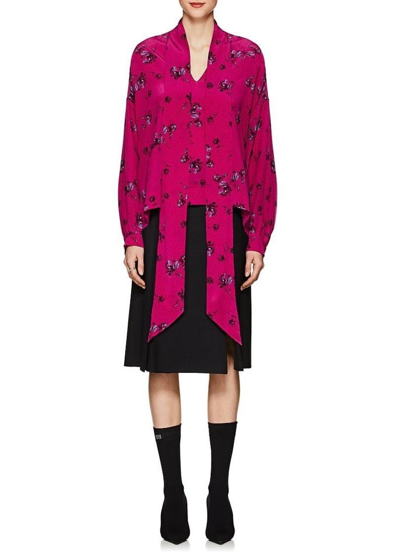 f88ed3dc13c98b Balenciaga Balenciaga Women s Floral Silk Tie-Neck Blouse