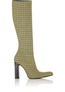 Balenciaga Women's Houndstooth Tweed Knee Boots